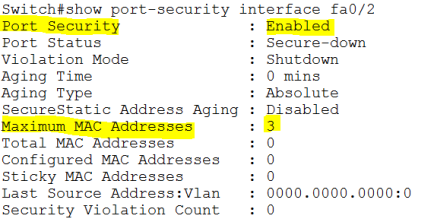 Cisco: Switchport Port Security – SID-500 COM