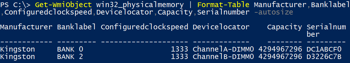 dbbc35bbf7 PowerShell  Getting RAM Info by manufacturer