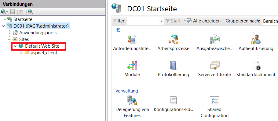 Installation eines Webservers (IIS) unter Windows Server