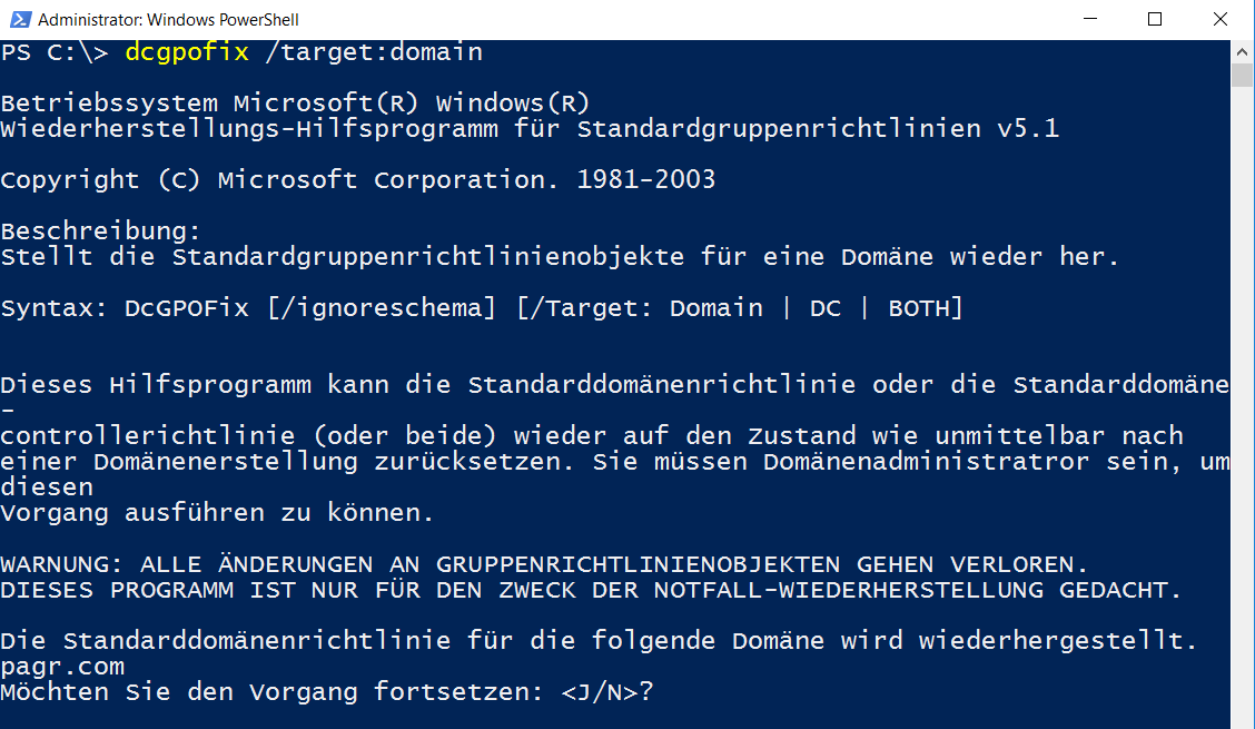 Default Domain Policy / Domain Controllers Policy mit dcgpofix auf ...