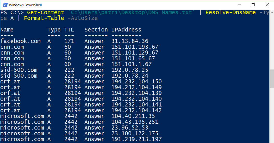 Powershell get dns name from ip address