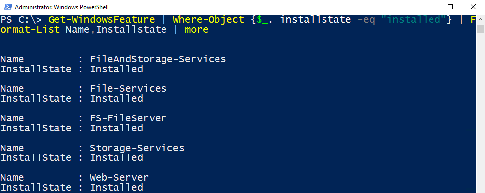 Windows Server: List all installed Roles and Features using
