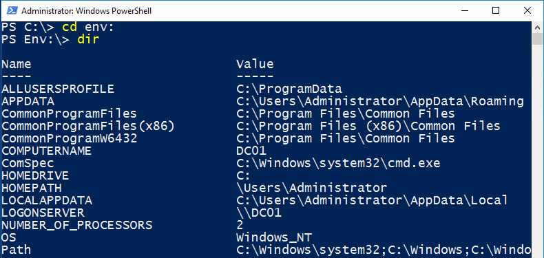 PowerShell: Playing with Environment Variables – SID-500 COM