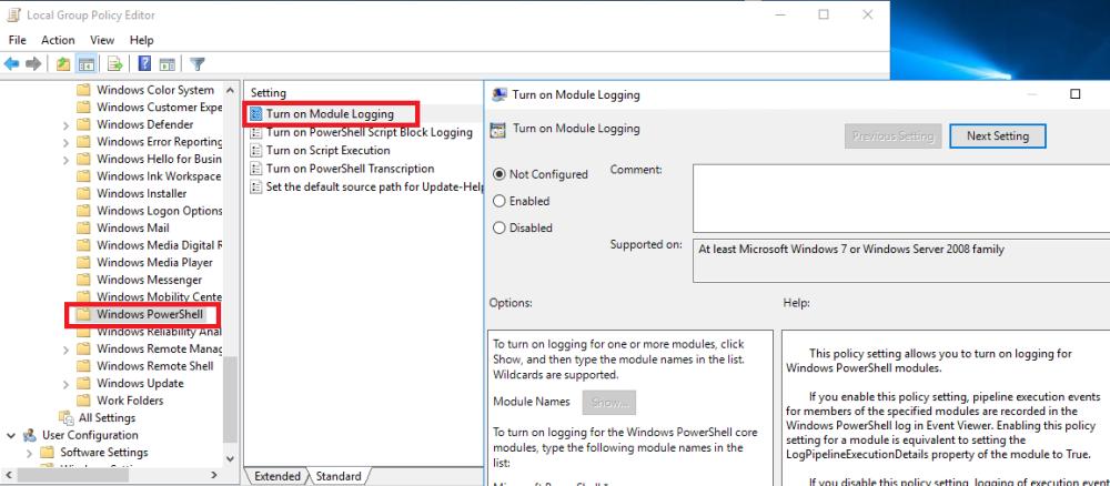 Monitoring Windows PowerShell: Enable Module Logging – SID
