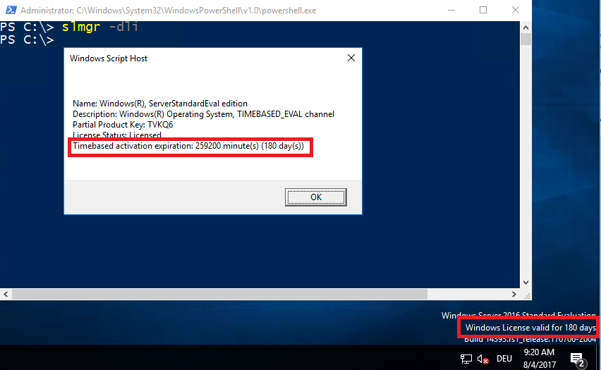 Windows Server 2016/2019 Evaluation: How to extend the Trial Period