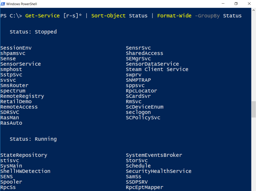 PowerShell: Using Format-Wide – SID-500 COM