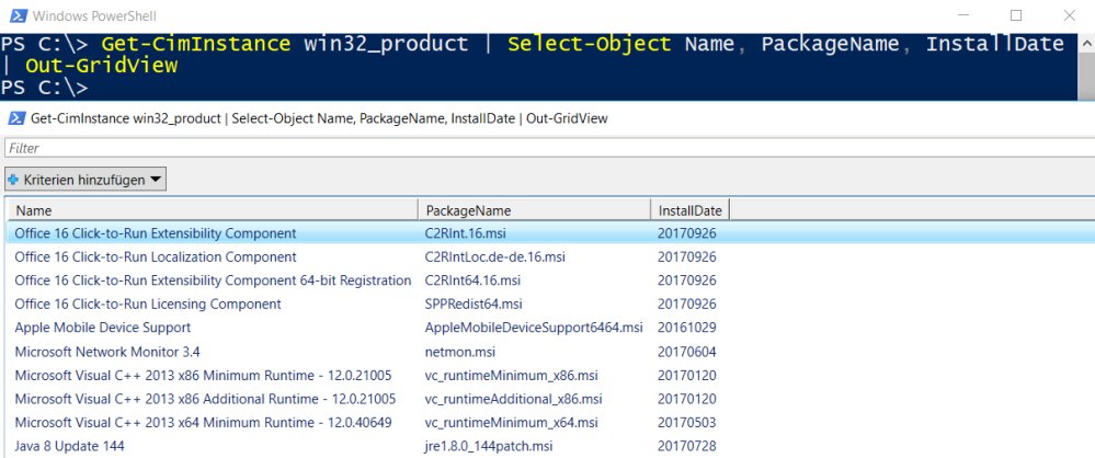 PowerShell: How to get a list of all installed Software on
