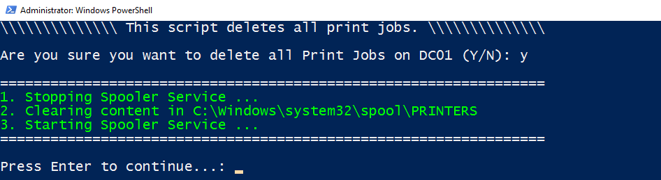 Windows Server/Windows 10: How to delete stuck Print Jobs