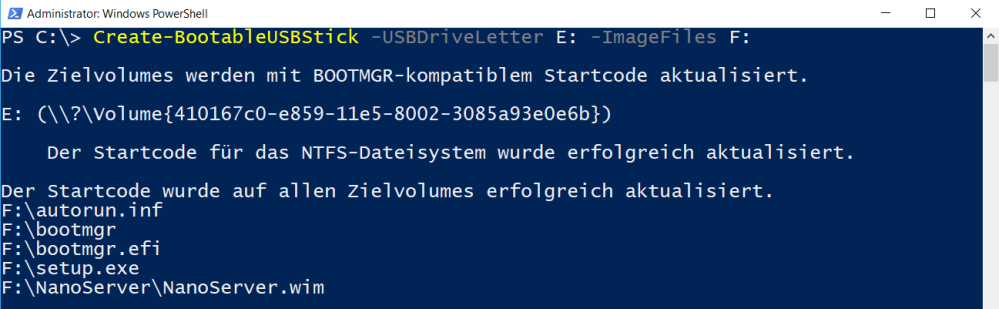 Create a bootable USB stick with PowerShell (Create