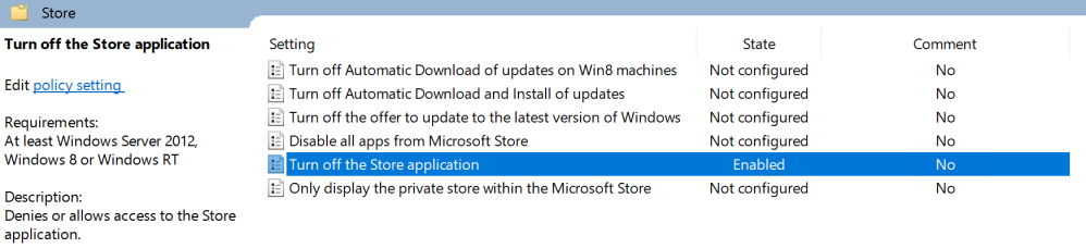 Windows 10: Deny Windows Store Access and Disable all Apps from